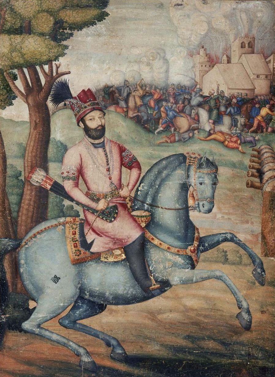 nadir_shah_at_the_sack_of_delhi_-_battle_scene_with_nader_shah_on_horseback_possibly_by_muhammad_ali_ibn_abd_al-bayg_ign_ali_quli_jabbadar_mid-18th_century_museum_of_fine_arts_boston